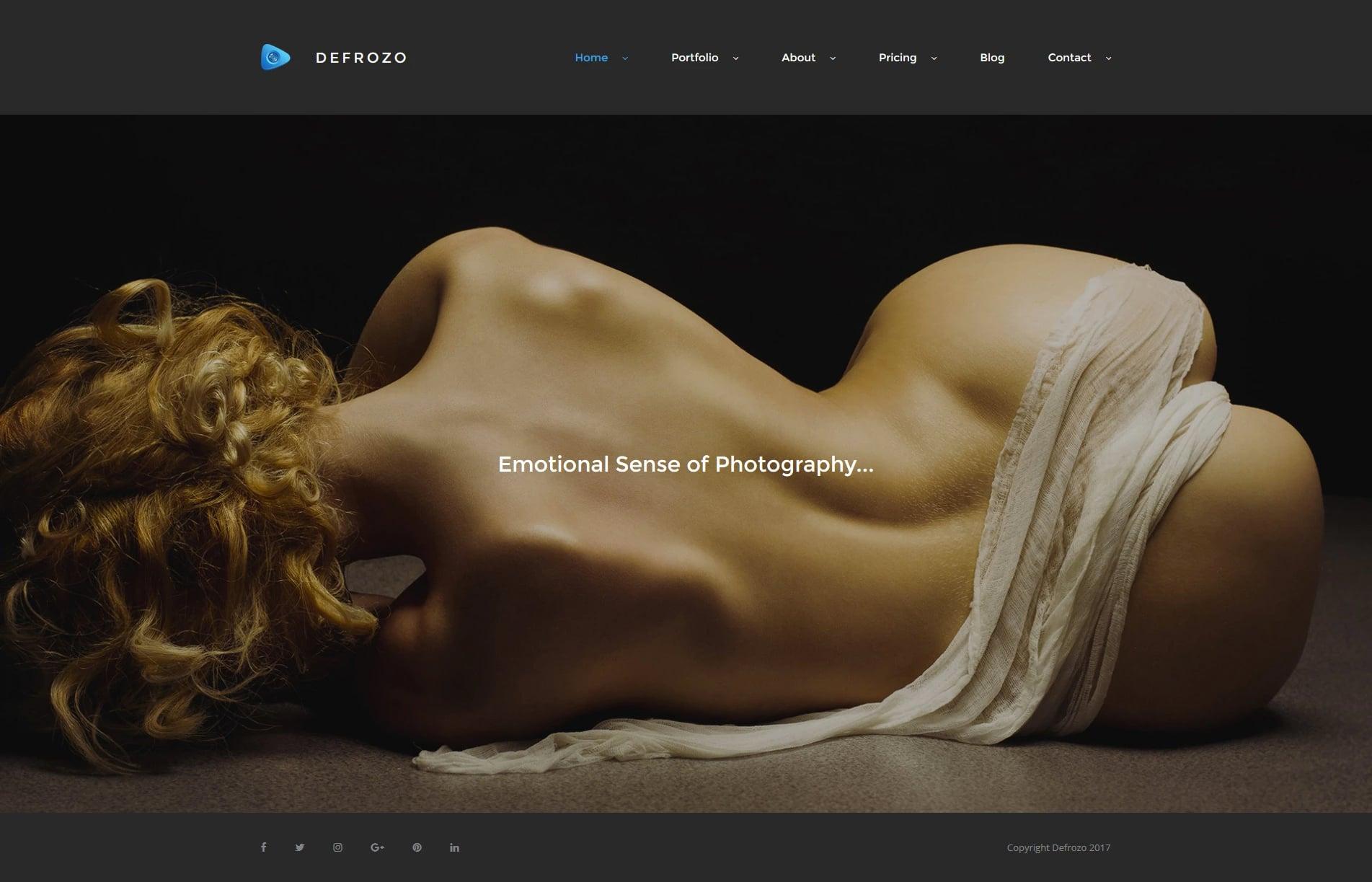 Defrozo Photographer Portfolio Moto CMS 3 Template