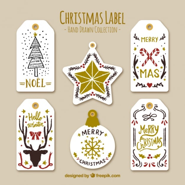 Beautiful Christmas labels with golden details