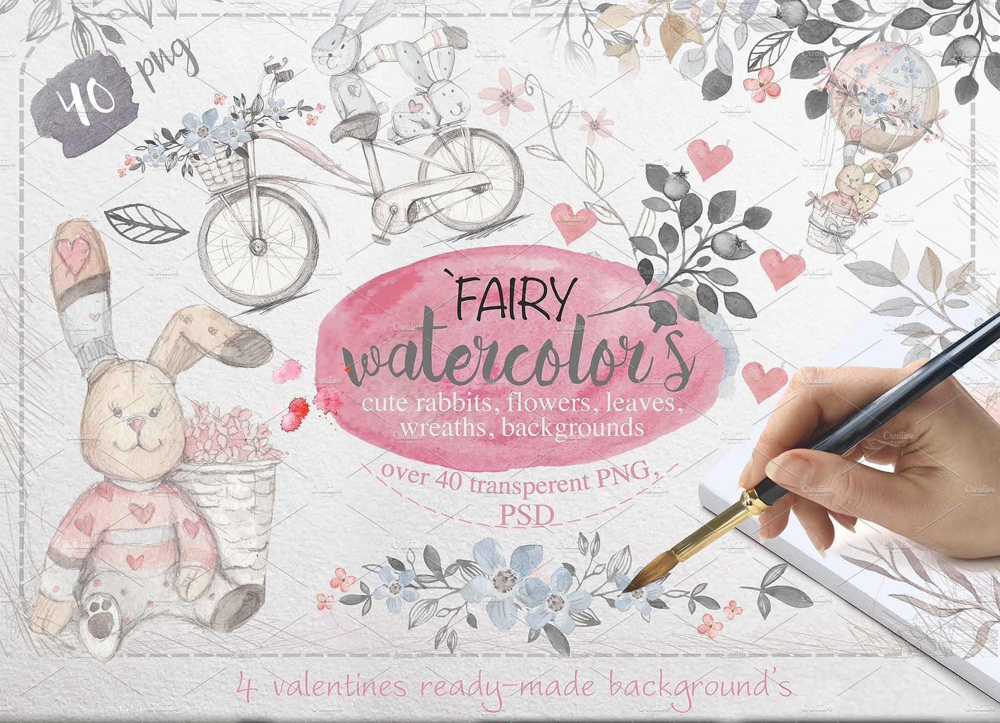 LOVE Collection: 90 designs with 90% OFF - big batch valentines watercolors