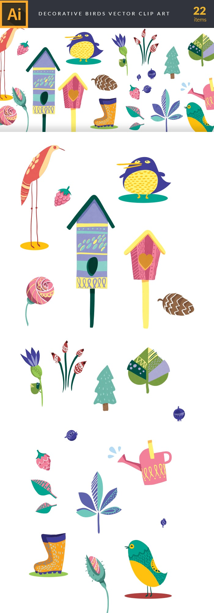 400+ Amazing Cartoon Vector Clip Art with 27 different sets - $10! - decorative birds large