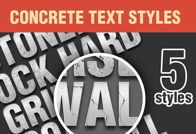 Get 327 Premium Photoshop Text Styles for Just $24 - designtnt addons concrete styles 1 small