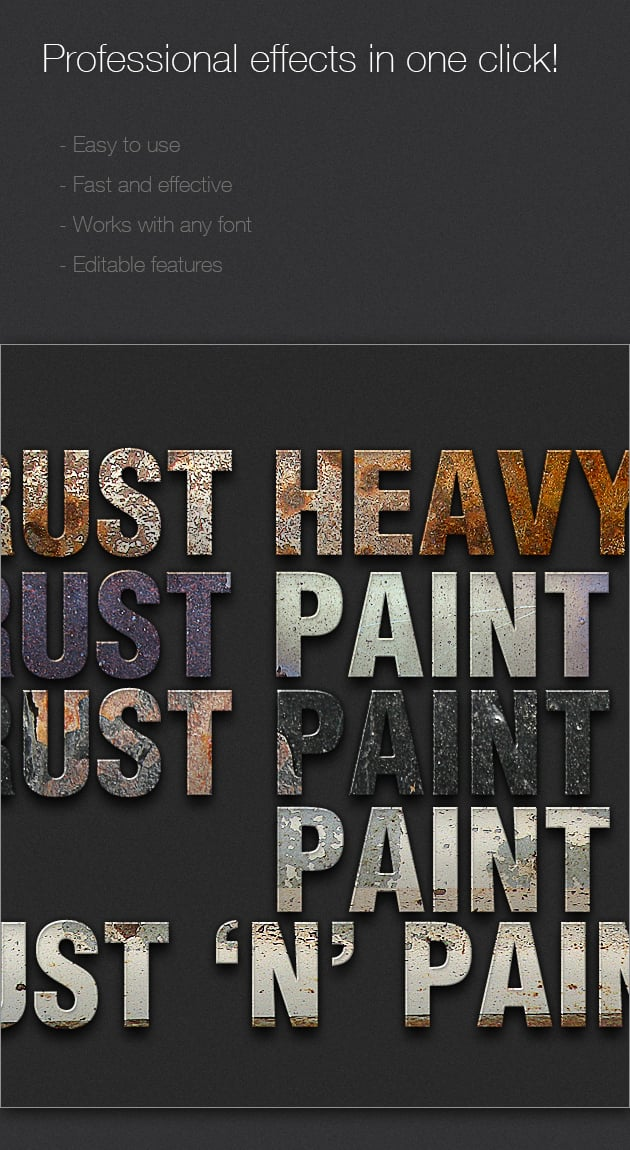 Get 327 Premium Photoshop Text Styles for Just $24 - designtnt addons rusted text style large