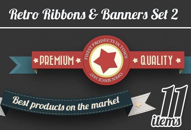 The Web Design Mega Set – Hundreds of Premium Resources for Only $19 - designtnt retro ribbons banners 2 small
