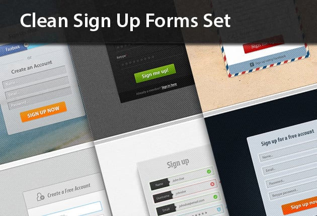 The Web Design Mega Set – Hundreds of Premium Resources for Only $19 - designtnt web clean sign up forms preview small