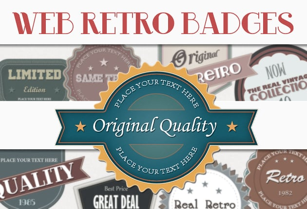 The Web Design Mega Set – Hundreds of Premium Resources for Only $19 - designtnt web retro badges small