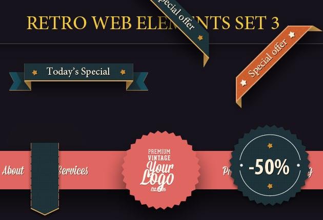 The Web Design Mega Set – Hundreds of Premium Resources for Only $19 - designtnt web retro elements 3 SMALL