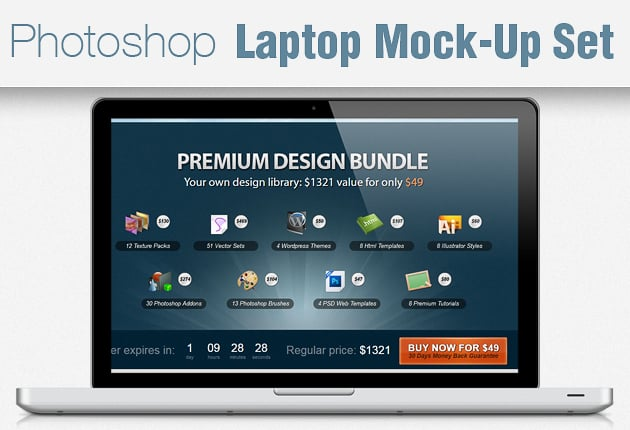 The Web Design Mega Set – Hundreds of Premium Resources for Only $19 - laptop mockup set small
