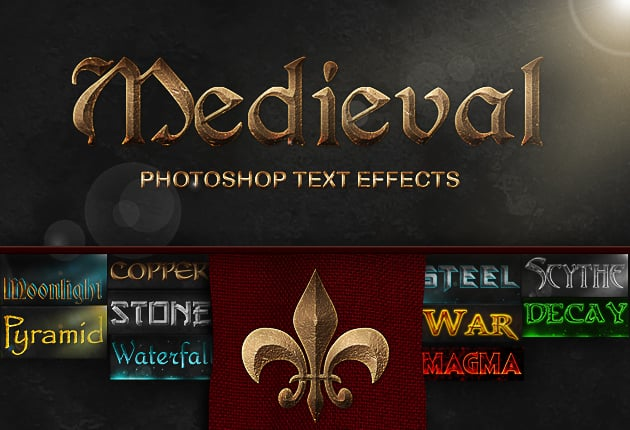 Get 327 Premium Photoshop Text Styles for Just $24 - medieval text effects small