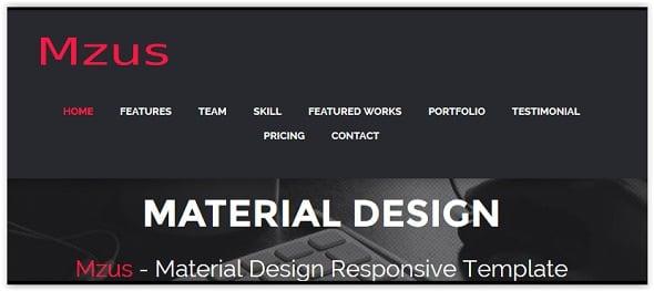 MZus Material Design Template