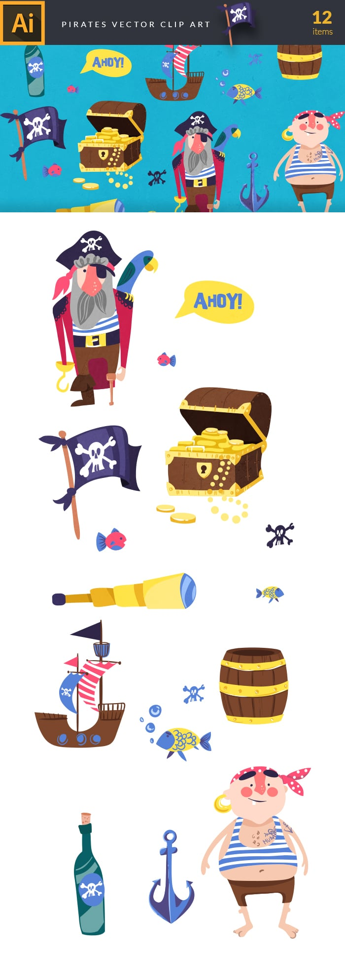 400+ Amazing Cartoon Vector Clip Art with 27 different sets - $10! - pirates large