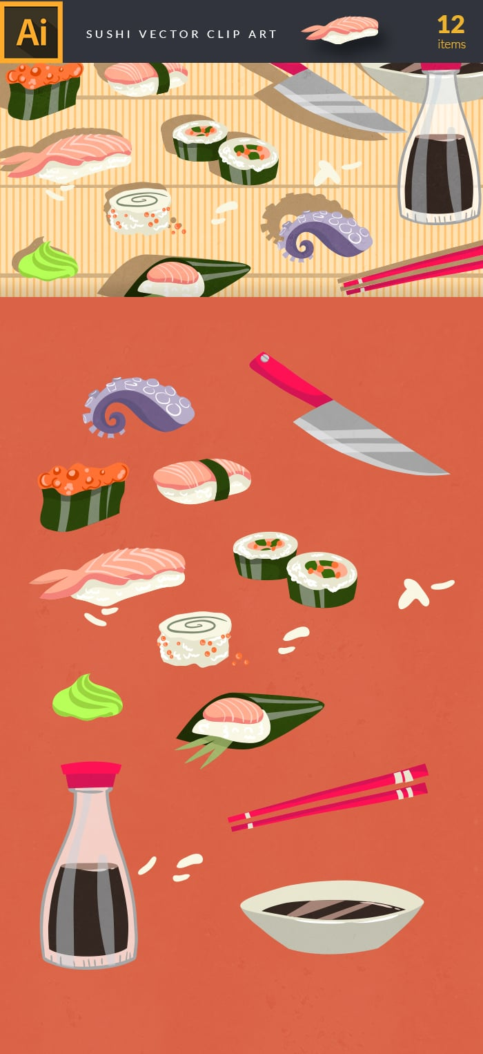 400+ Amazing Cartoon Vector Clip Art with 27 different sets - $10! - sushi large