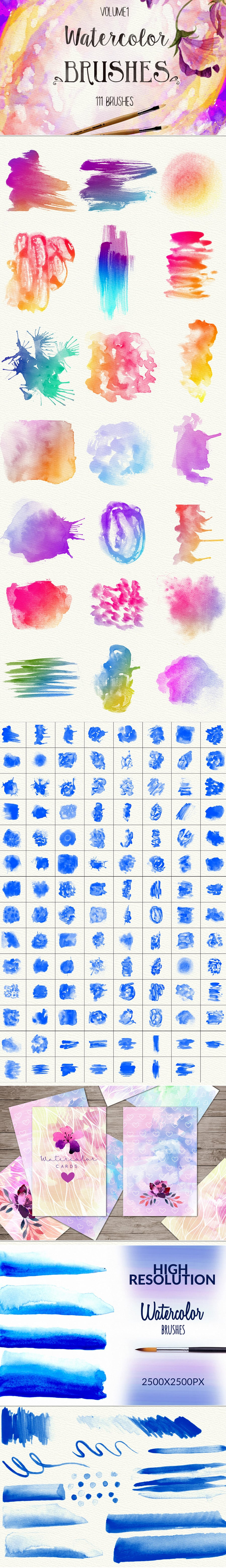 Watercolor stamp Brushes and Splashes