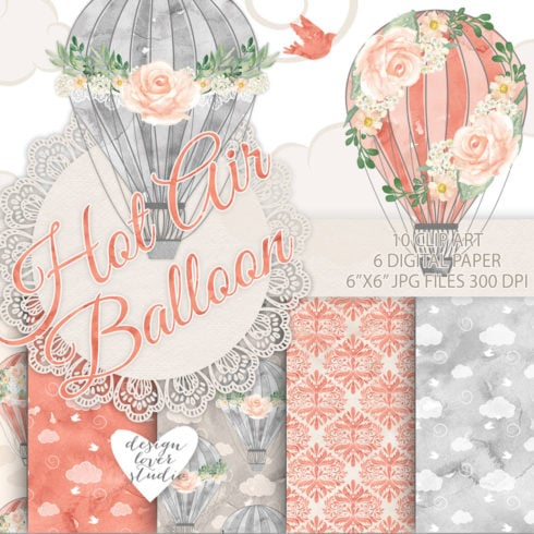 Hot Air Balloon Clipart. Watercolor bundle - 490 490x490