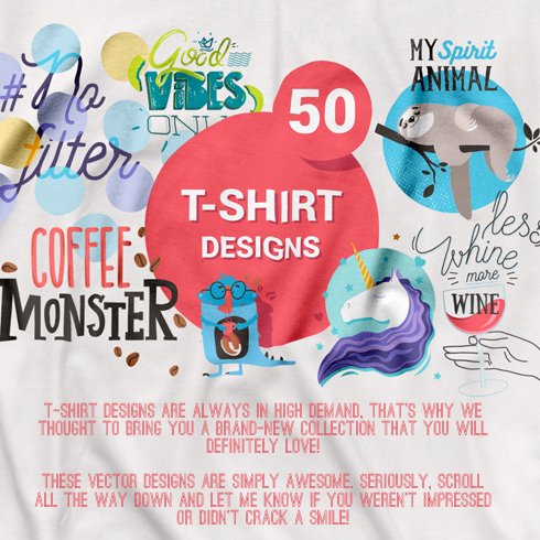 50+ Amazing Vector T-Shirt Design Templates - 490x490 1d