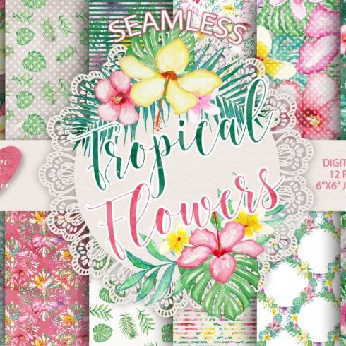 Digital Paper Pack: 24 Tropical Flowers Designs - DP All 1 490x490
