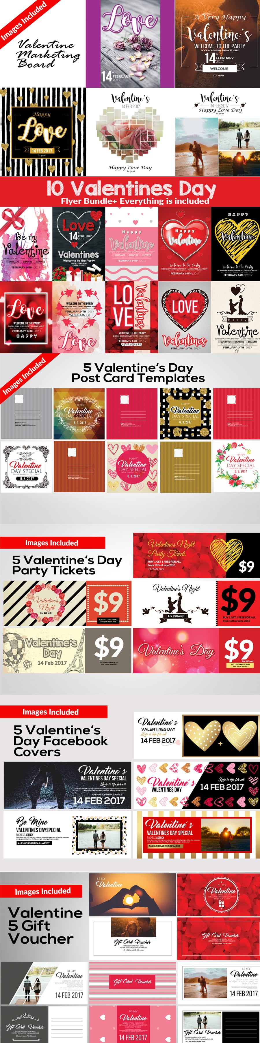 Valentine's Day Images Bundle: 35 Amazing Templates - Full Preview