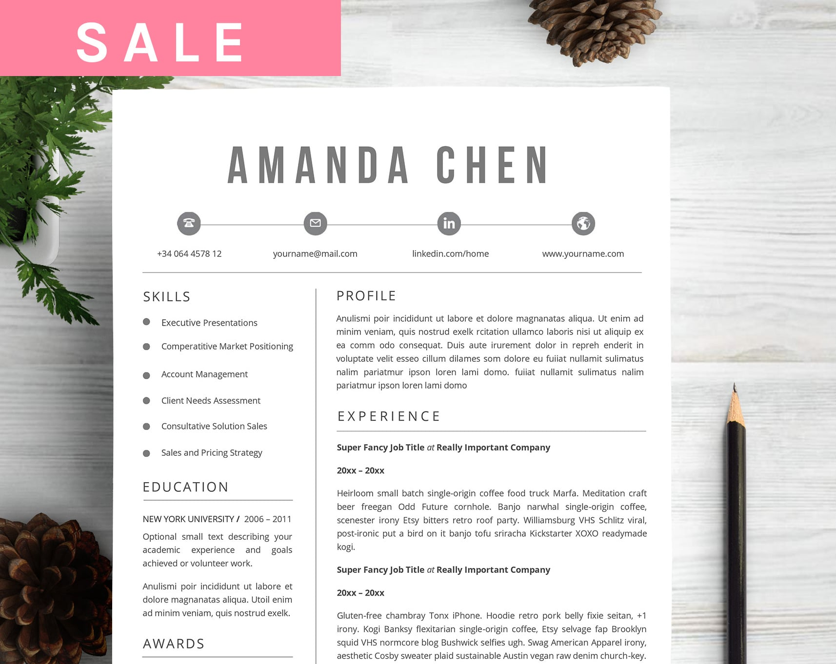 6 Best Clean Resume CV Templates in 2020 - Untitled 1 1