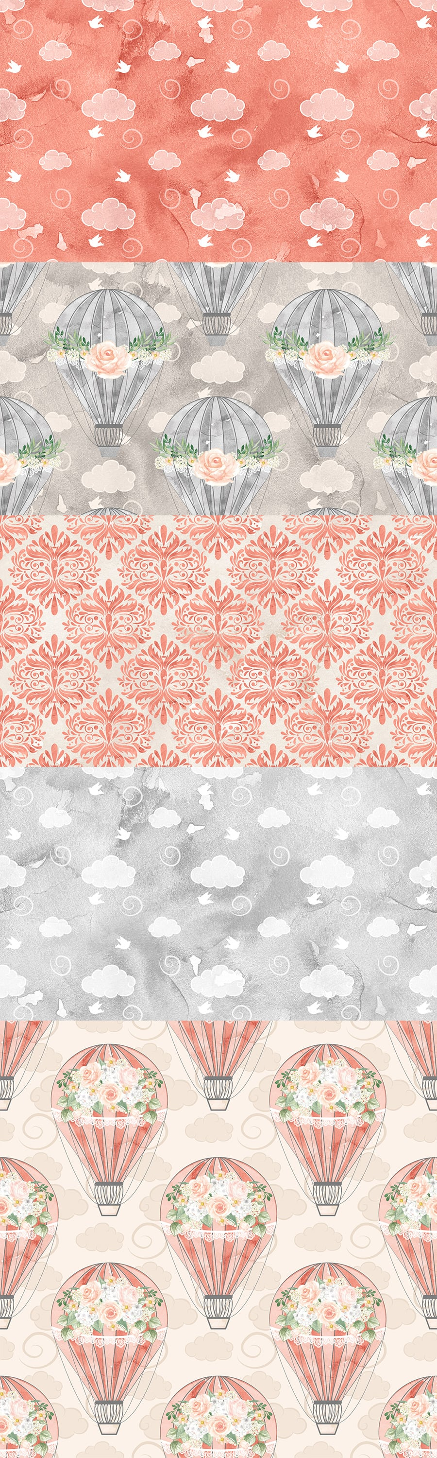 Watercolor Hot Air balloon flowers digital paper, Balloon pattern, seamless pattern, Repeatable Digital Paper, coral red, gray, damask