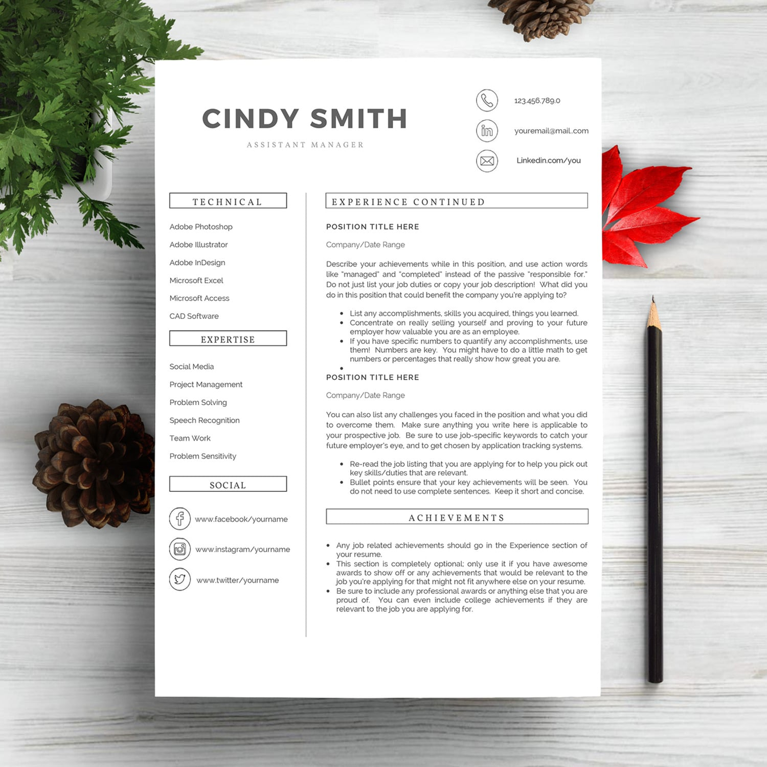 Professional Resume Template 2020. Clean Resume Template – Only $9! - page 2 3