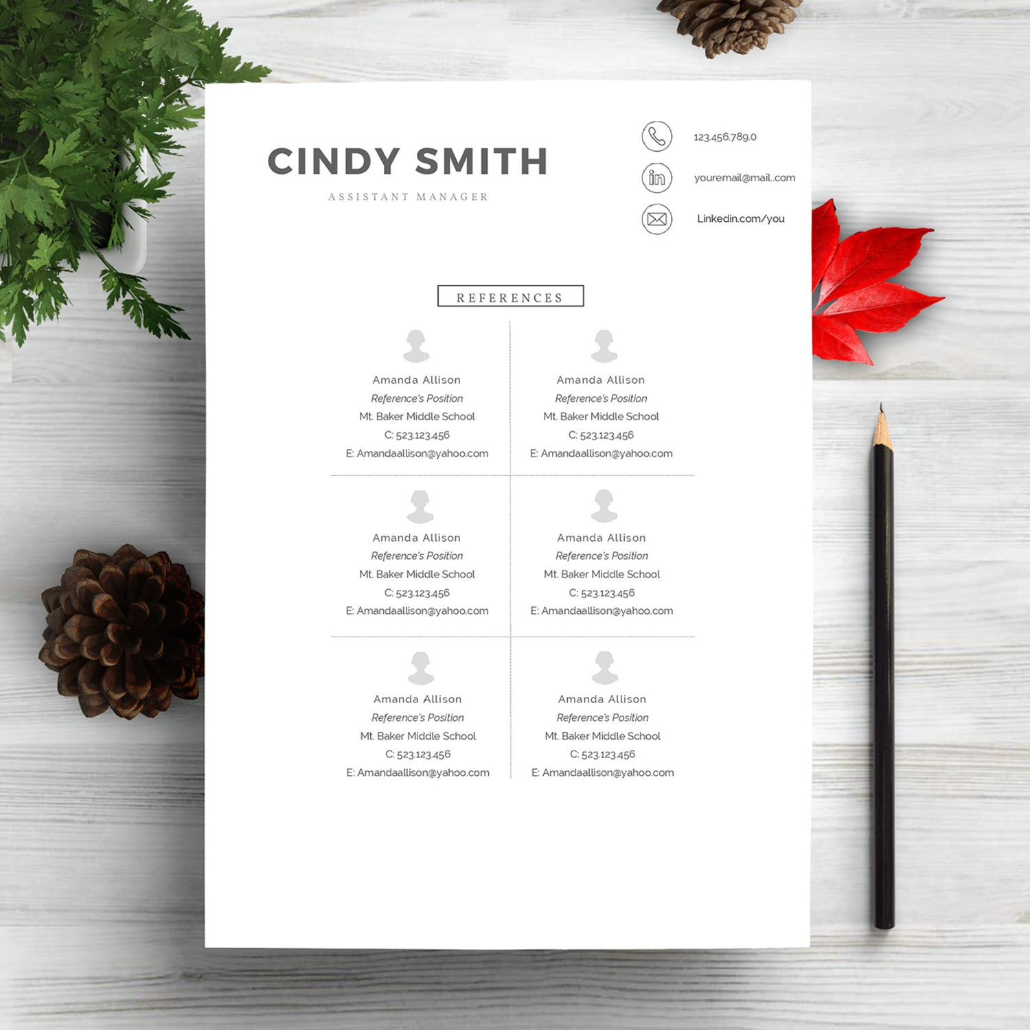 Professional Resume Template 2020. Clean Resume Template – Only $9! - refrences