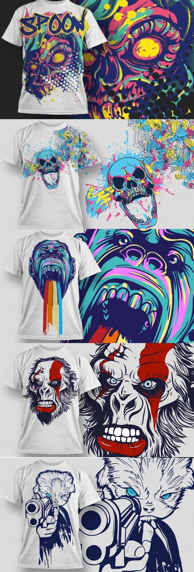 T-shirt Designs Bundle: 50 Awesome T-shirt Vectors