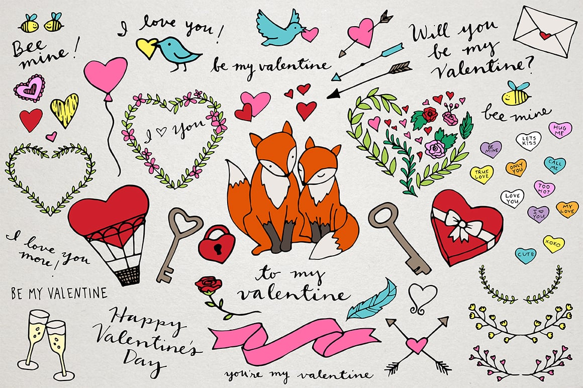 55 Valentine's Day Hand Drawn Illustrations
