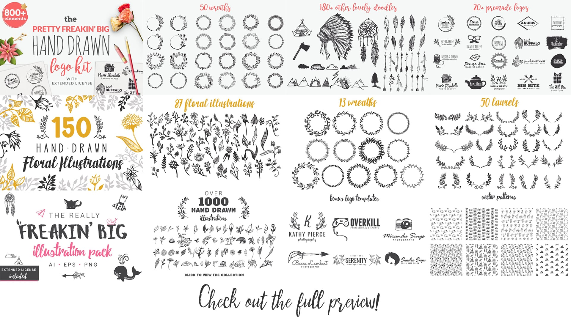 1900+ Best Hand Drawn Flowers And Patterns Bundle 2020 - $24 - 3 1