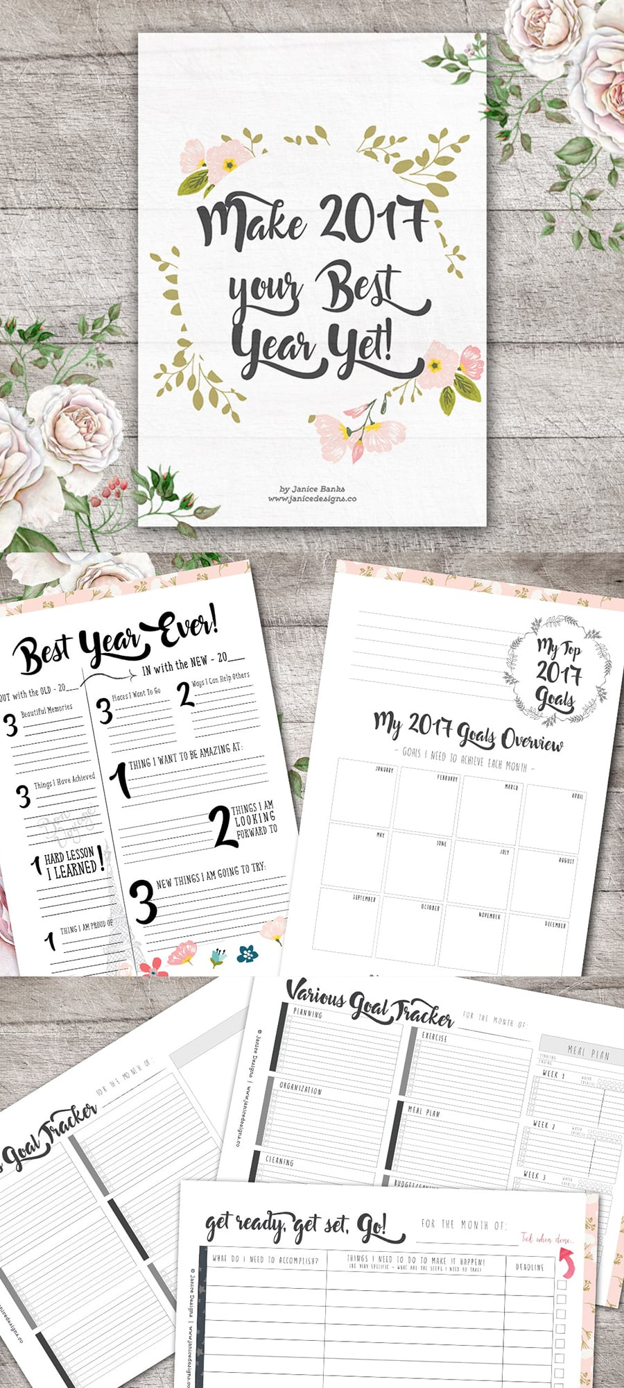 Life Planner: Make 2018 Your Best Year Yet Collection - Full preview 900x2000px 1