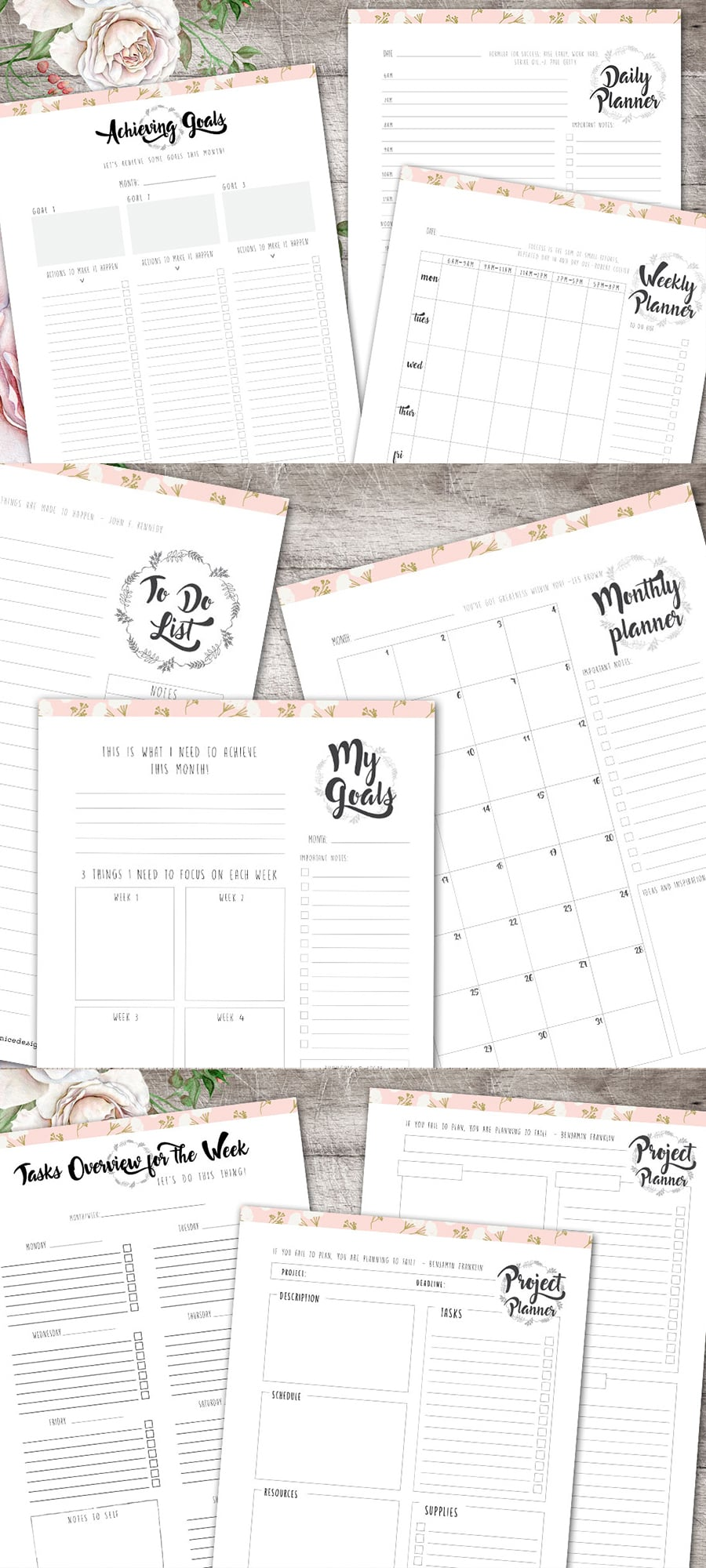 Life Planner: Make 2018 Your Best Year Yet Collection - Full preview 900x2000px 2