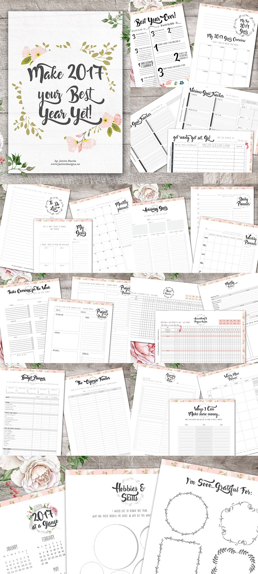 Life Planner: Make 2018 Your Best Year Yet Collection - Goal Setting Full preview 900x2000px
