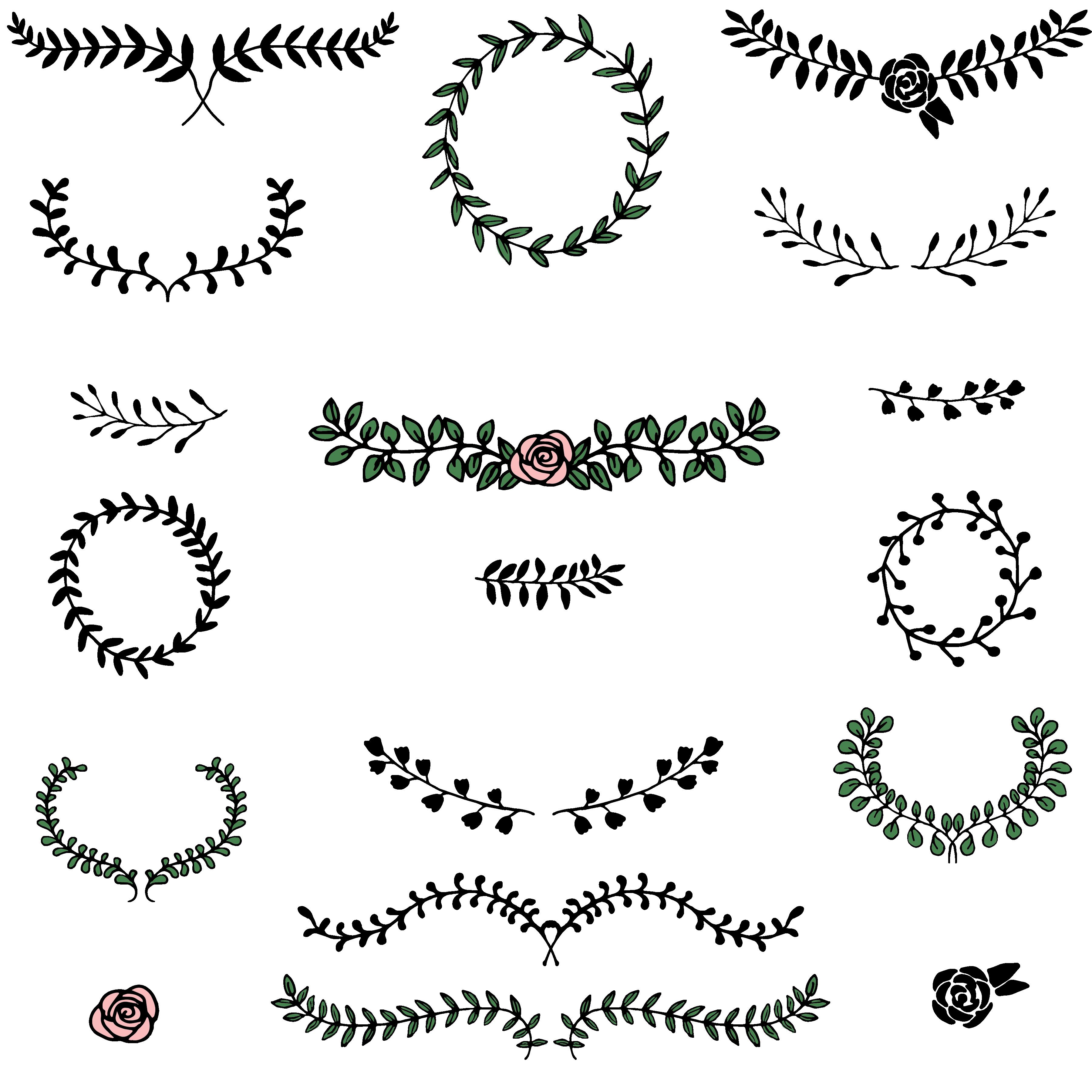 Love Megapack: over 250 wedding elements vector - LemonadePixel Laurels 01