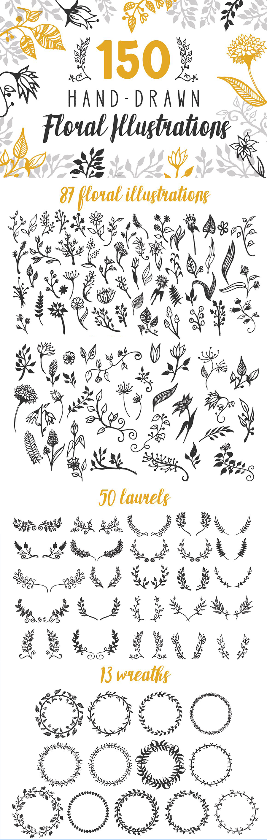 1900+ Best Hand Drawn Flowers And Patterns Bundle 2020 - $24 - Long