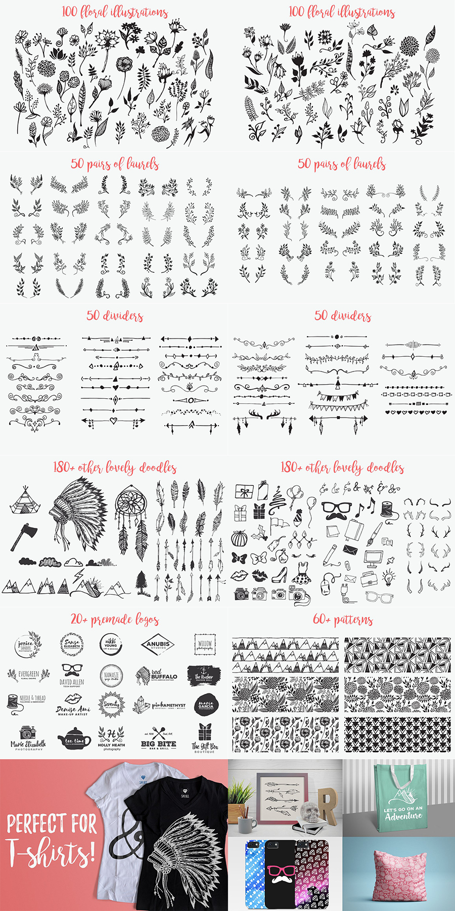 1900+ Best Hand Drawn Flowers And Patterns Bundle 2020 - $24 - Long2