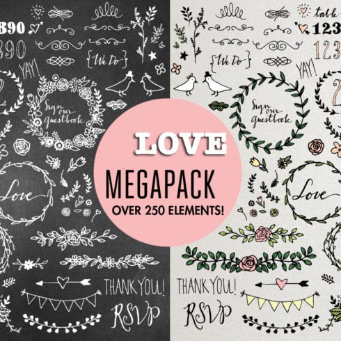 Love Megapack: over 250 wedding elements vector - WeddingMegapack preview 1 490x490