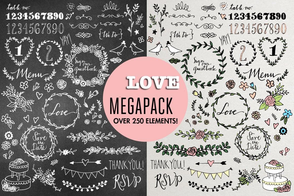 Love Megapack: over 250 elements