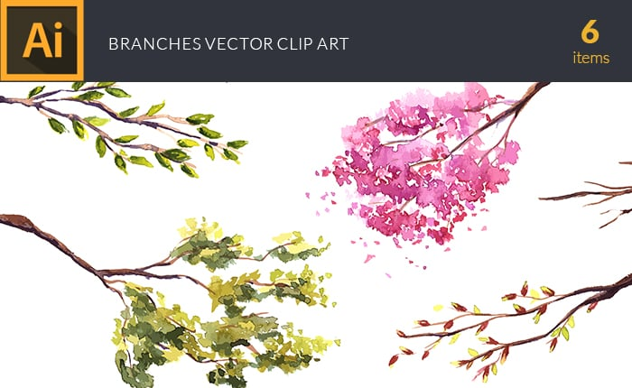 The Gorgeous Watercolor Collection with Bonus and handmade elements – only $22 - design tnt vector watercolor branches small