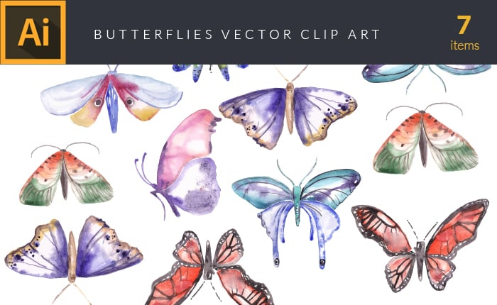 The Gorgeous Watercolor Collection with Bonus and handmade elements – only $22 - design tnt vector watercolor butterflies small