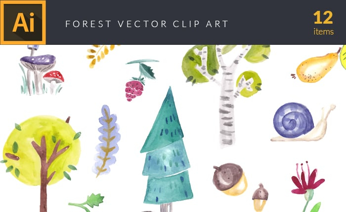The Gorgeous Watercolor Collection with Bonus and handmade elements – only $22 - design tnt vector watercolor forest small