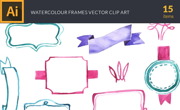 The Gorgeous Watercolor Collection with Bonus and handmade elements – only $22 - design tnt vector watercolor frames small