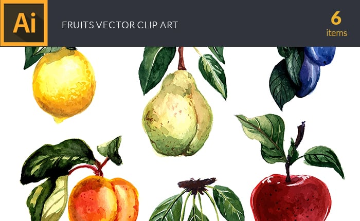 The Gorgeous Watercolor Collection with Bonus and handmade elements – only $22 - design tnt vector watercolor fruits small