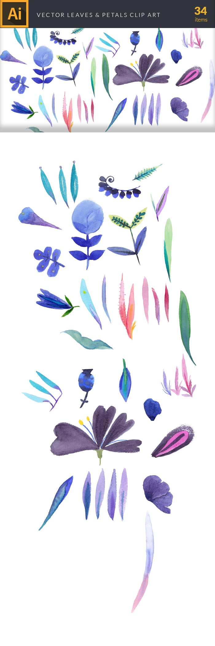 The Gorgeous Watercolor Collection with Bonus and handmade elements – only $22 - design tnt vector watercolor leaves petals large
