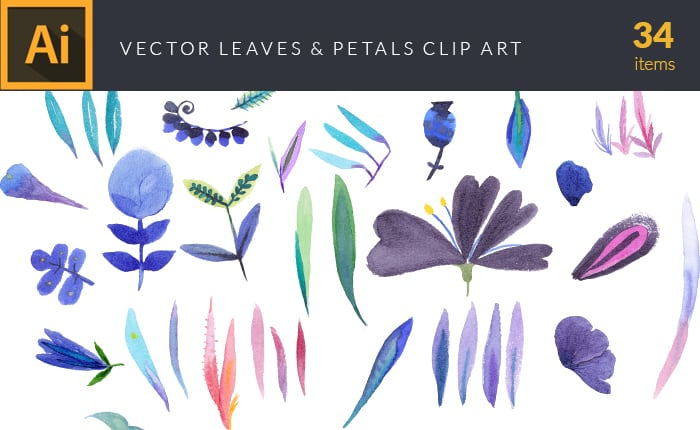 The Gorgeous Watercolor Collection with Bonus and handmade elements – only $22 - design tnt vector watercolor leaves petals small