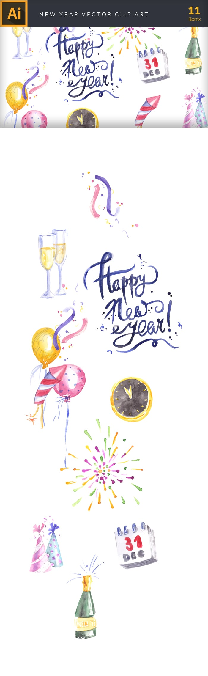 The Gorgeous Watercolor Collection with Bonus and handmade elements – only $22 - design tnt vector watercolor new year large