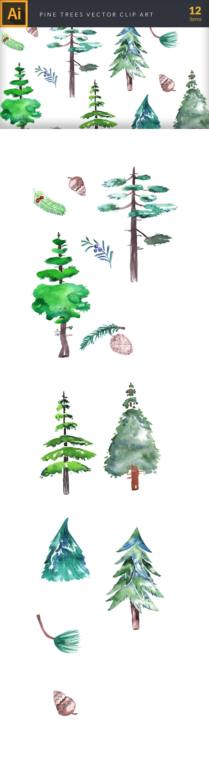 The Gorgeous Watercolor Collection with Bonus and handmade elements – only $22 - design tnt vector watercolor pine trees large