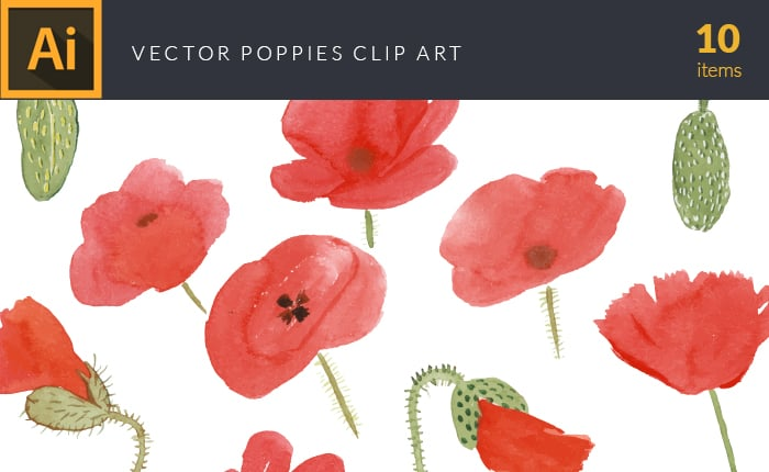 The Gorgeous Watercolor Collection with Bonus and handmade elements – only $22 - design tnt vector watercolor poppies small