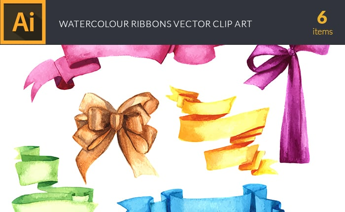 The Gorgeous Watercolor Collection with Bonus and handmade elements – only $22 - design tnt vector watercolor ribbons small