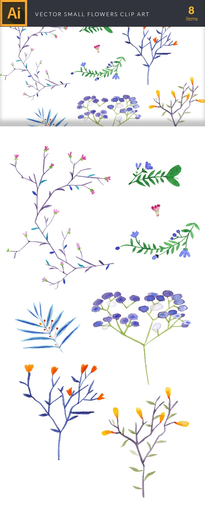 The Gorgeous Watercolor Collection with Bonus and handmade elements – only $22 - design tnt vector watercolor small flowers large