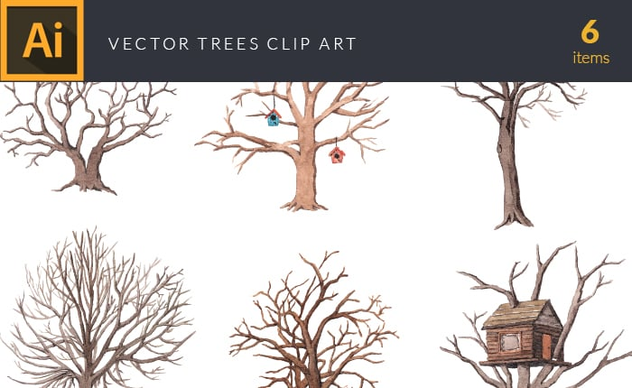 The Gorgeous Watercolor Collection with Bonus and handmade elements – only $22 - design tnt vector watercolor trees small