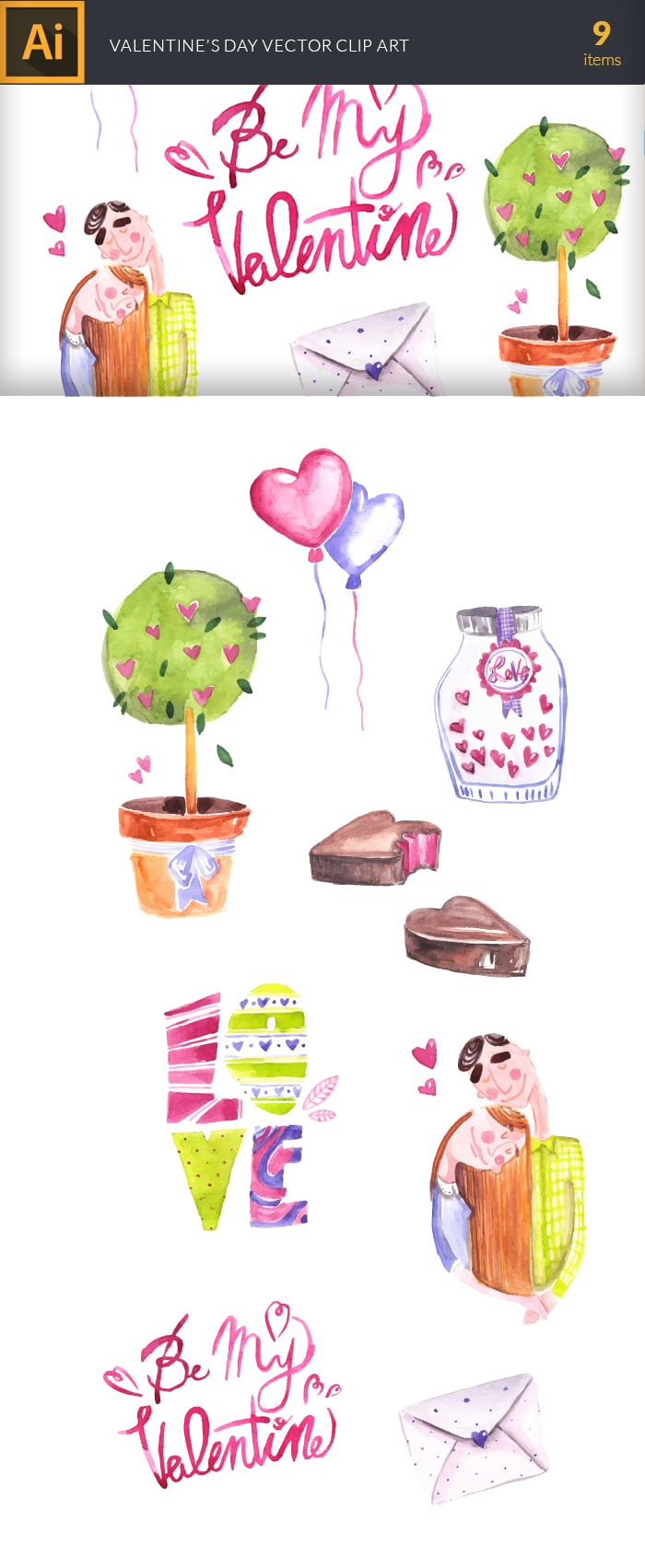 The Gorgeous Watercolor Collection with Bonus and handmade elements – only $22 - design tnt vector watercolor valentines day large1