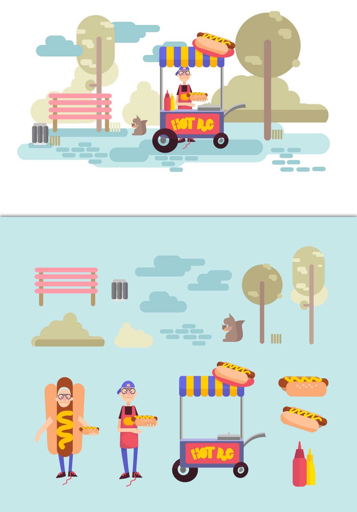 The Best Mega Graphics Bundle. 1000+ Premium Items for $49 - hot dog cart web elements